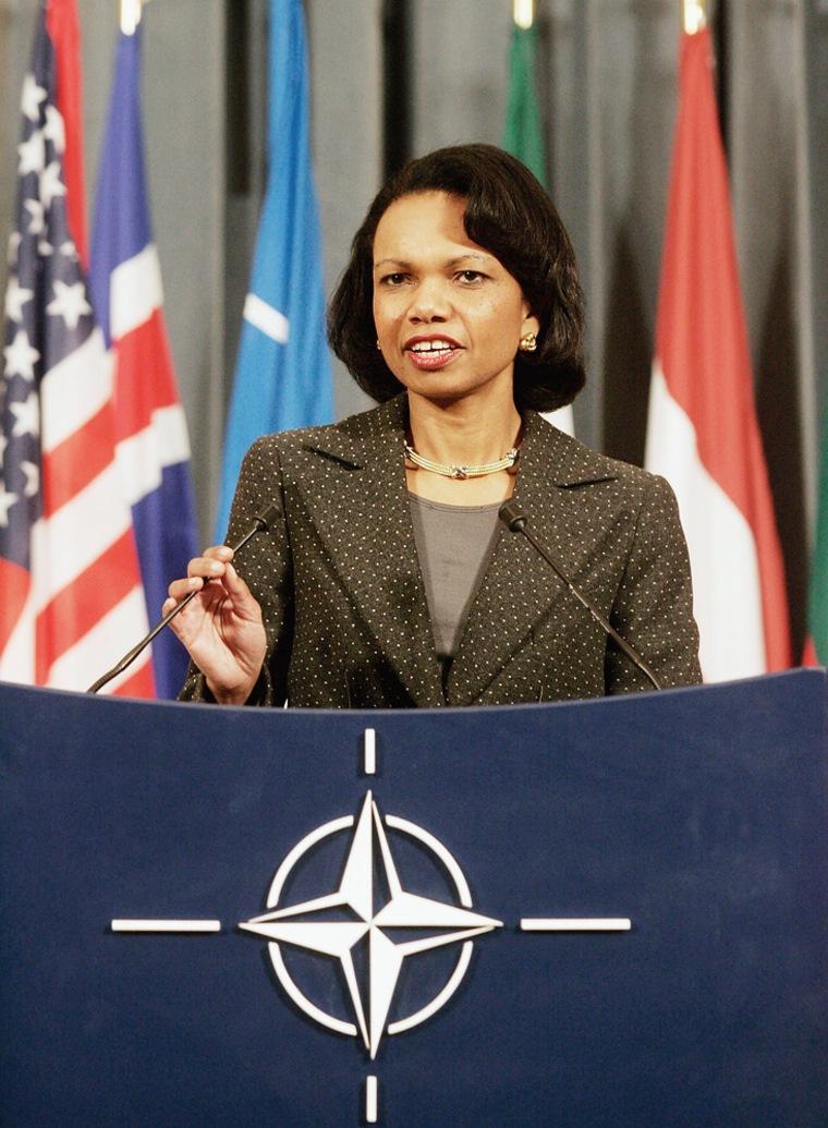 Condoleezza Rice in Brussels for NATO talks