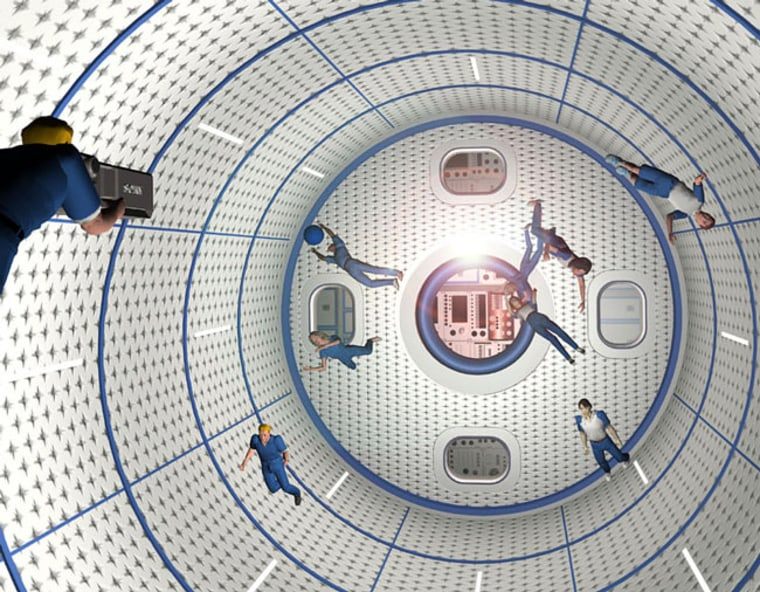 An artist's conception shows zero-gravity players tossing around a ball as part of space-themed sport.