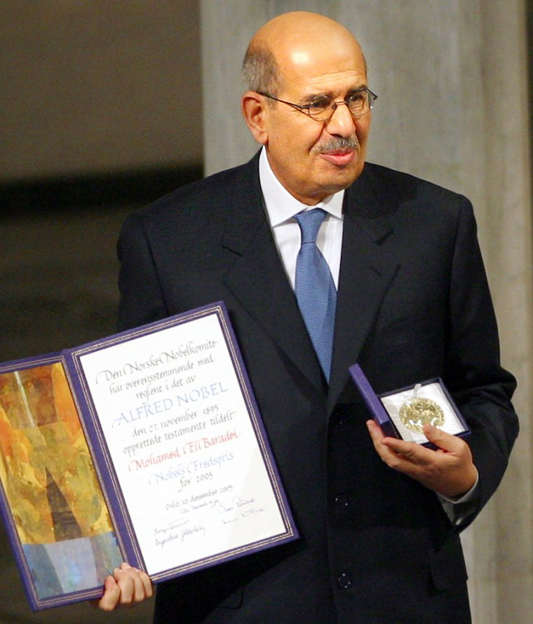 Nobel Peace Prize laureate Mohamed ElBaradei accepts his prize at City Hall in Oslo, Norway, on Saturday.