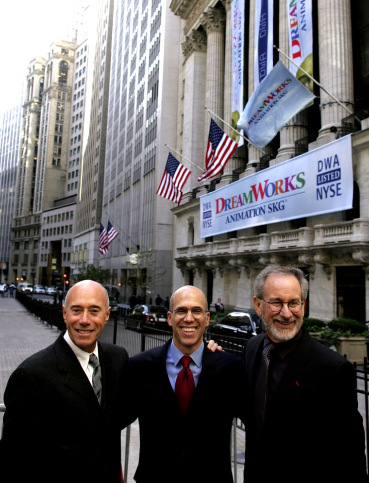 DreamWorks founders David Geffen, left, Jeffrey Katzenberg, center, and Steven Spielberg celebrate their IPO outside the New York Stock Exchange last year.Paramount Picturesannounced Dec. 11 it hadagreed to buy theirfilm studioin a deal worth $1.6 billion.