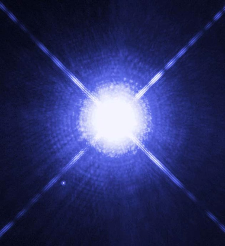 This photo showsSirius A, the brightest star in our nighttime sky, along with its faint, tiny stellar companion, Sirius B.