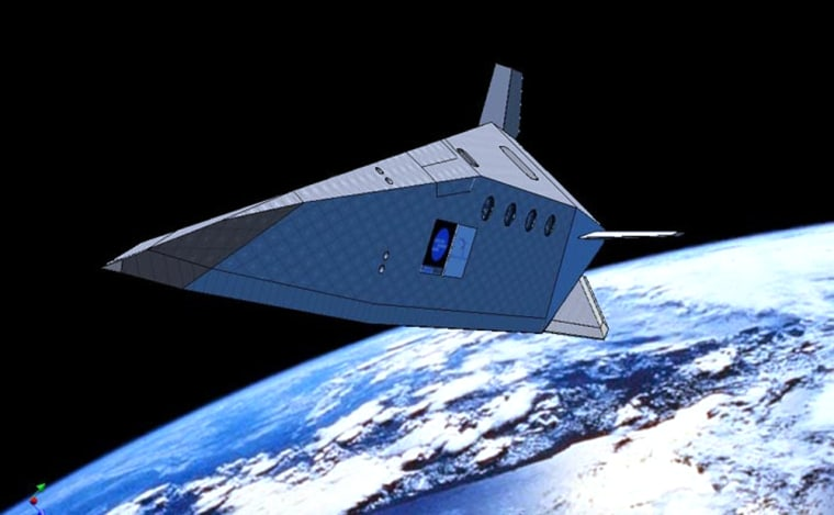 An artist's conception shows the Silver Dart hypersonic glider in orbit. The design is based on the FDL-7 concept, which was pioneered by the U.S. Air Force's Flight Dynamics Laboratory but discarded.