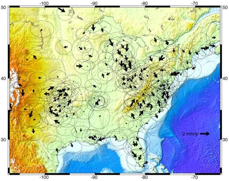This illustration shows horizontal movements of Earth's crust in North America due to post-glacial rebound. Larger arrows represent greater annual movement.