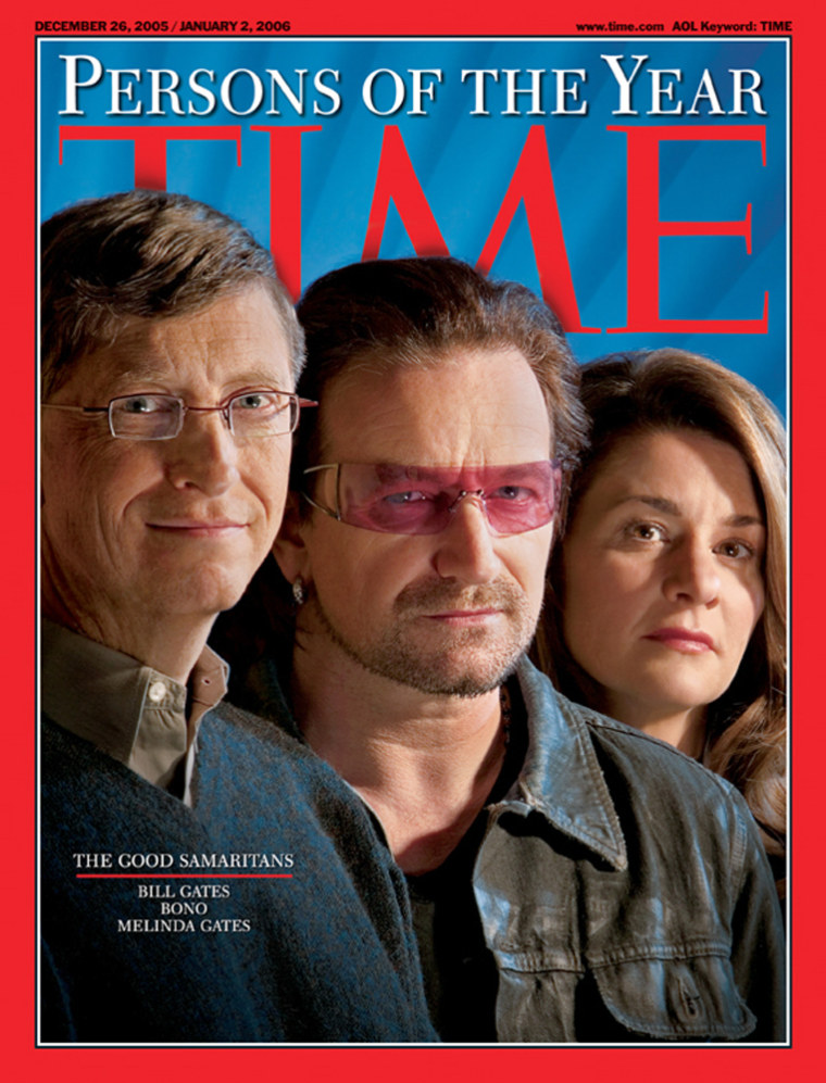 In this handout photo provided by Time magazine, the annual Persons of the Year Issue featuring Bill Gates, left, U2 rocker Bono, and Melinda Gates, right, is shown.