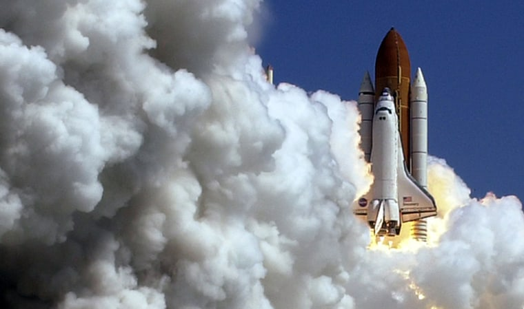 The space shuttle Discovery lifts off from Launch Pad 39B at the Kennedy Space Centerin Floridaon July 26, 2005. The euphoria that surrounded the launch soon gave way to fresh concerns about the shuttle flight's future.