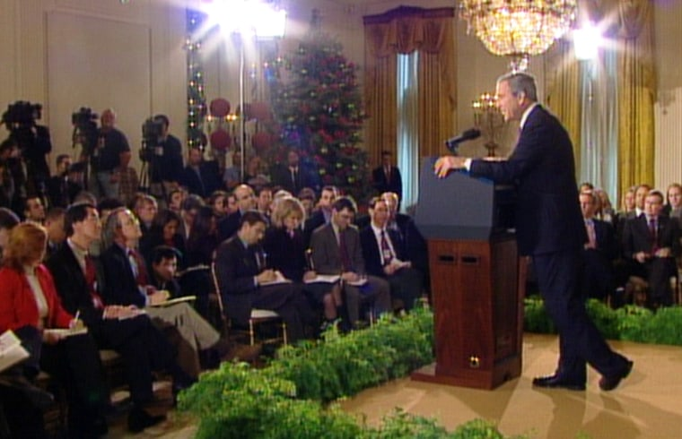 President Bush addresses reporters at the White House on Monday.