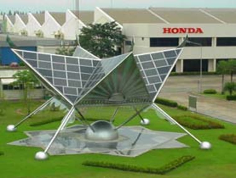 Honda's solar power projects include this tower at a factory in Thailand.