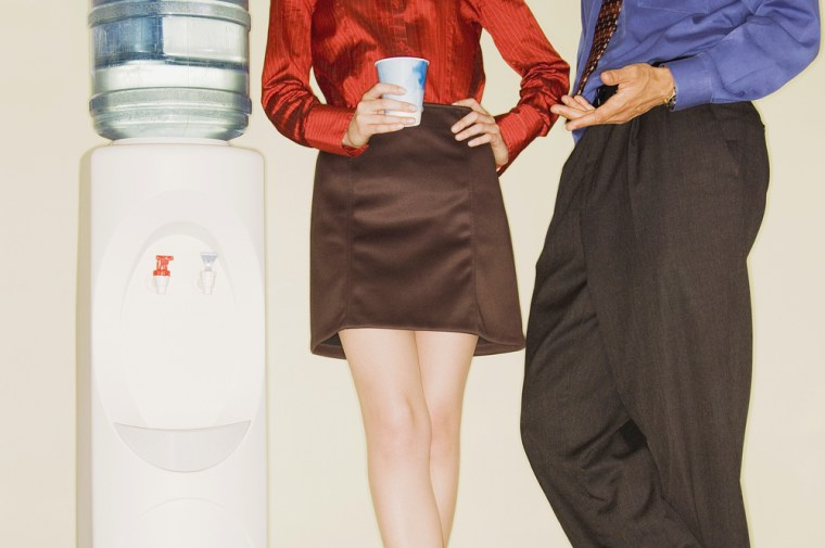 Cropped Office Workers by Water Cooler