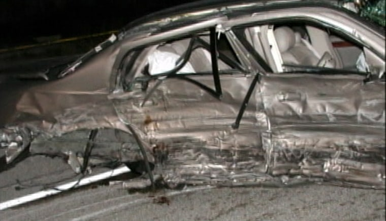 Crash scene photo: An accident involving this Cadillac took the lives of two teenage girls.