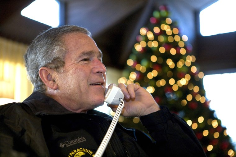 President Bush Calls The Troops On Christmas Eve