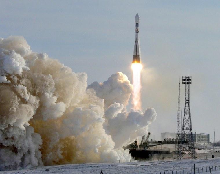 A Russian Soyuz rocket carrying the test