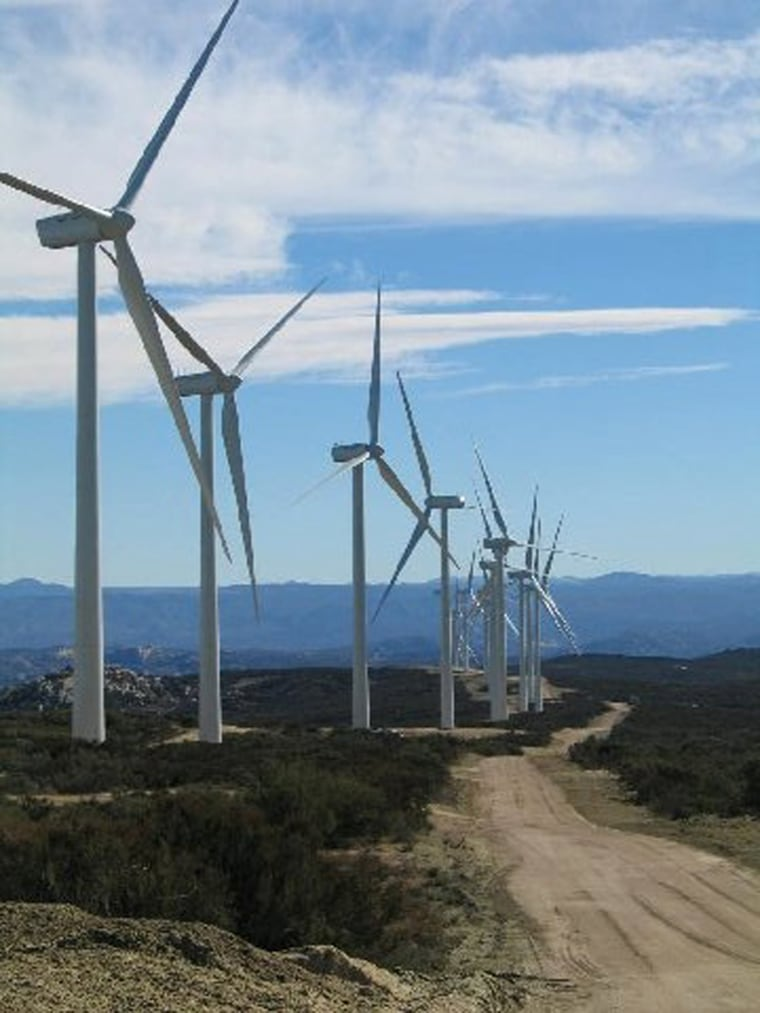 These are some of the 20 huge wind turbines that started producing power this week on Native American land near San Diego.