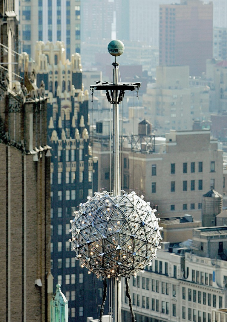 New Years eve ball raised during test drop in New York