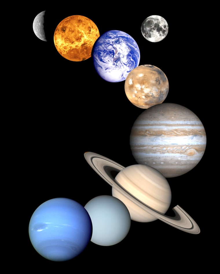 A montage of images from NASAspacecraft shows, from top, Mercury, Venus, Earth and its moon, Mars, Jupiter, Saturn, Uranus and Neptune. Pluto is not shown because no spacecraft has yet visited there.