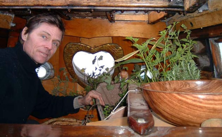 A small garden built into the bow of Reid Stowe's boat provides sprouts and other greens for the sailor's voyages.