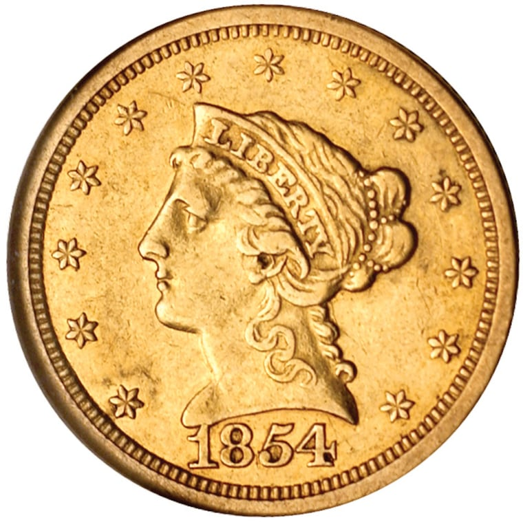 """Undated photoprovided by American Nusismatic Rarities shows the front of the """"Quarter Eagle"""" a dime-sized gold coin made with California Gold Rush ore at the San Francisco Mint in 1854."""
