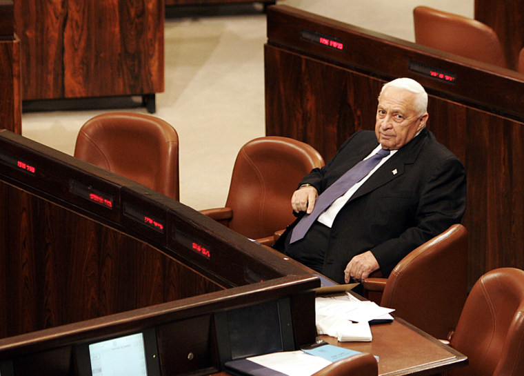 Prime Minister Ariel Sharon takes part in aspecial session in the Knesset, Israel's parliament, in 2004.