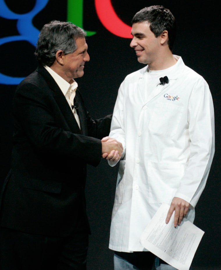 CBS chief executive greets Google co-founder during keynote speech at Consumer Electronics Show in Las Vegas
