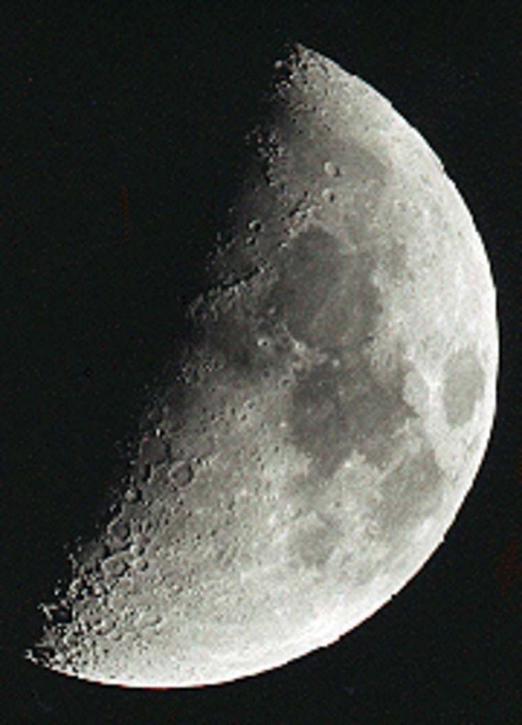 Mountains and shadowed craters provide plenty of visual interest when the moon is half full.