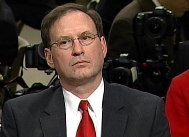 Judge Samuel Alito listens to a senator's opening statement Monday at the start of his confirmation hearing.