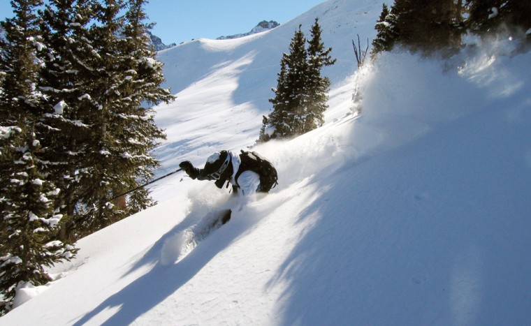 In this Dec. 15, 2005 photo provided by Silverton Mountain, a skier heads down Silverton Mountain in Silverton, Colo.