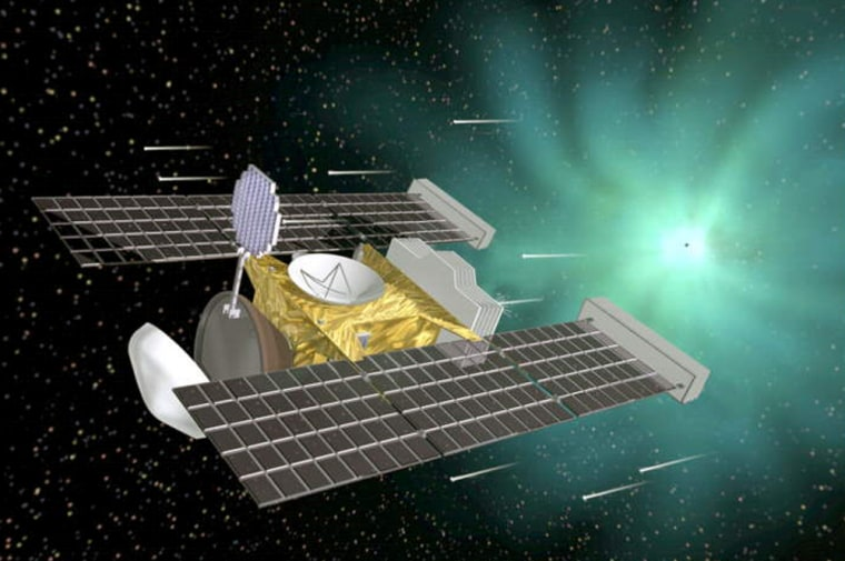 NASA's Stardust spacecraft, shown in this artist's conception, collected particles from Comet Wild 2's coma in 2004. Samples from the comet — as well as samples of interstellar dust — were captured in an aerogel-filled collector during separate periods of exposure.
