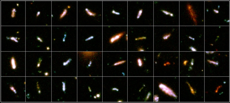 """This gallery shows 36 """"tadpole galaxies"""" from the Hubble Ultra Deep Field image."""