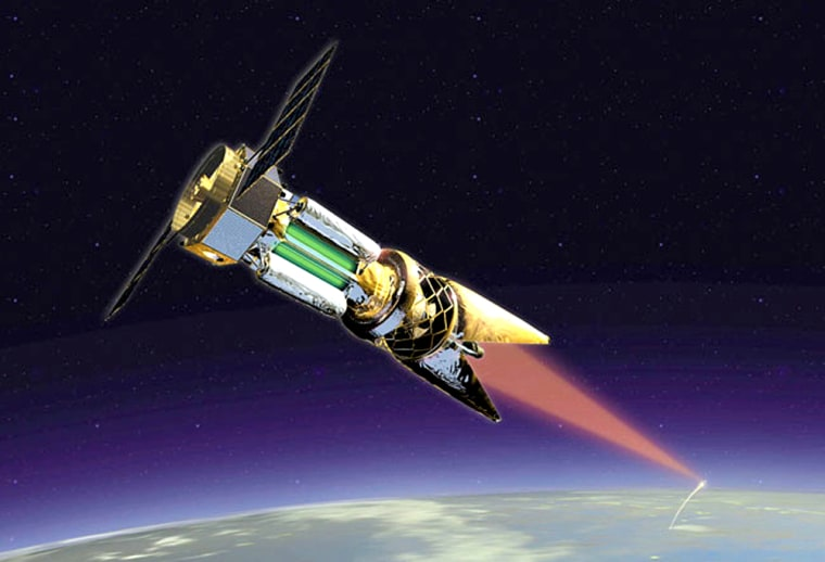 A laser fires from space toward Earth in this artistic rendering. The Air Force Research Laboratory's Directed Energy Directorate is conducting research in a wide variety of laser weapons technologies.