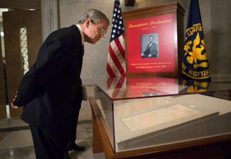 US President George W Bush views the Ema