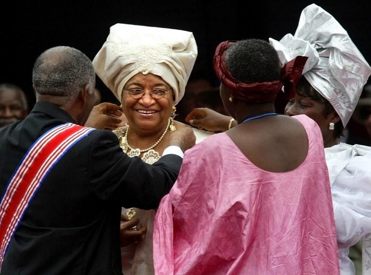 Unidentified officials adjust Liberia's