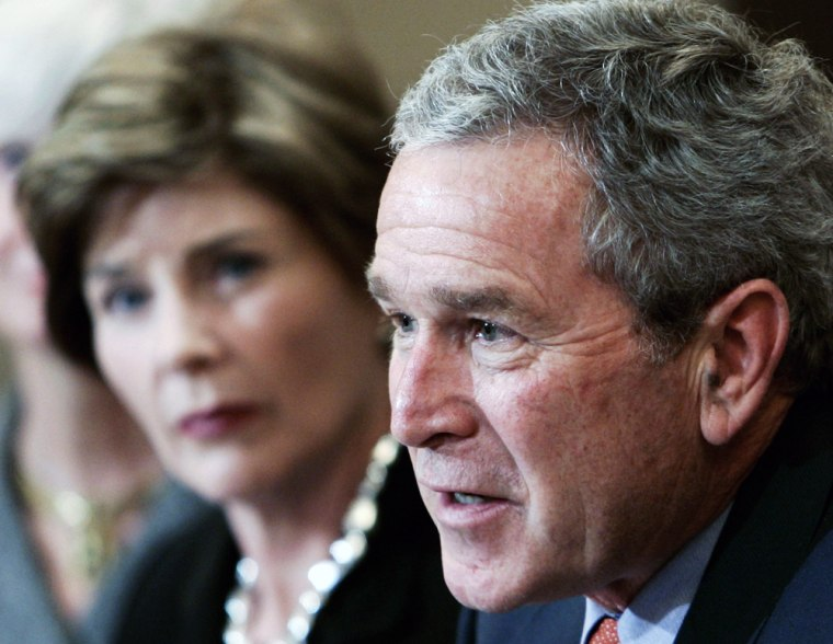 US President Bush attends meeting with charity foundation to aid in Gulf Coast recovery effort in Washington