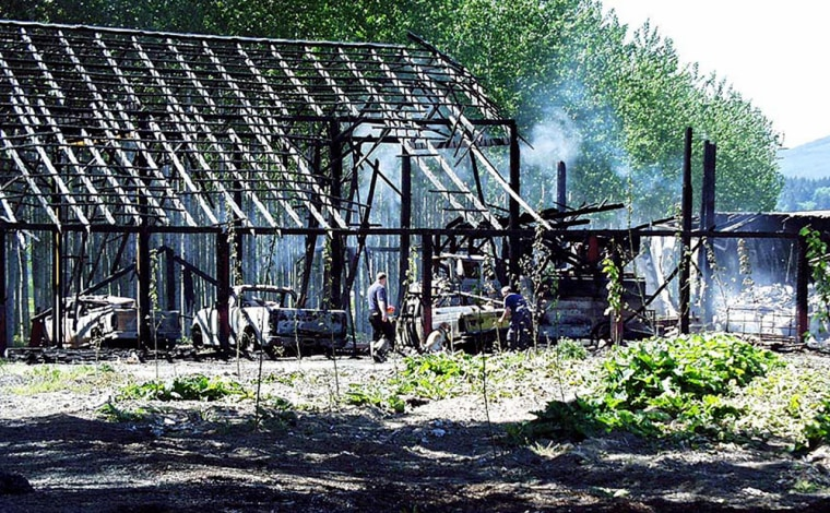 The crimes cited in a ecoterrorism indictment include this fire in Clatskanie, Ore., in 2001.The fire destroyed buildings and vehicles at a nursery that extremists said was experimenting with genetically modified plants.