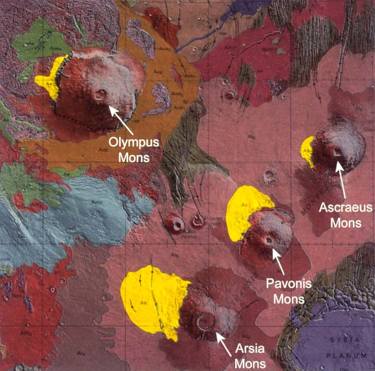 A color-coded geologic map of Mars' Tharsis region shows the location of rock-strewn deposits on the northwest slopes of several Martian volcanoes in yellow. Scientists believe the deposits were left behind by moving glaciers.