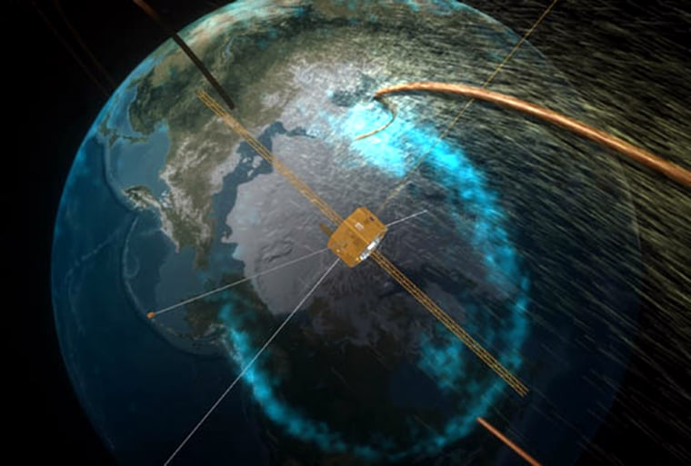 In this artist's conception, the Image satellite monitors a proton aurora over the Arctic. NASA says the satellite has stopped operating after six years.