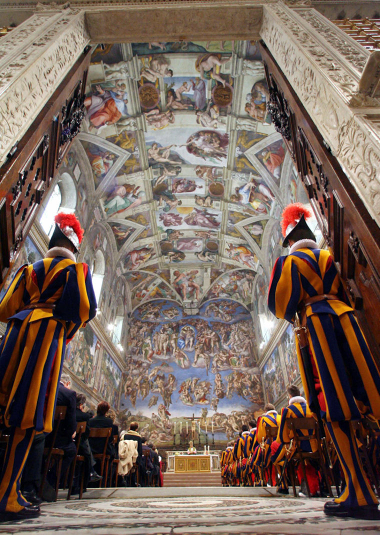 Swiss Guards attend special mass in Sistine Chapel in Vatican