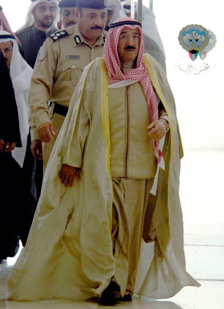 Kuwait's PM Sheikh Sabah al-Ahmed Al-Sabah enters parliament building in Kuwait