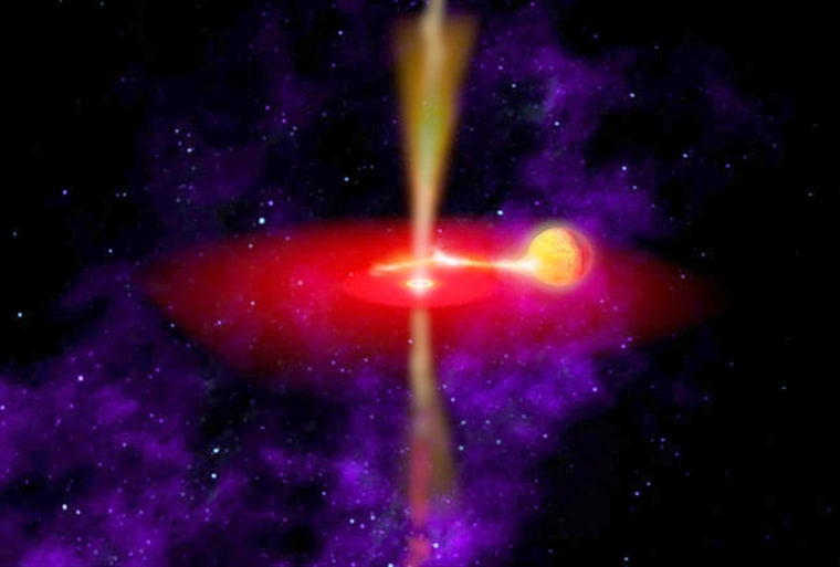 This artist's conception shows hot gas being siphoned from a companion star and riding upon a wave of space-time around a black hole.
