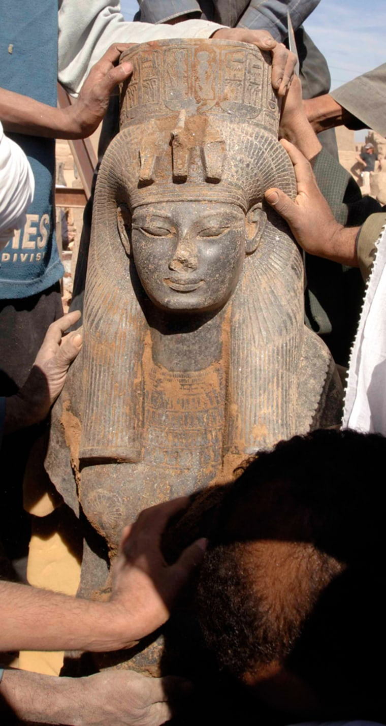 The statue of Queen Ti is shown off in Luxor.