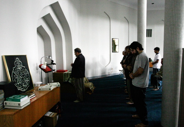 Imam Emad Al-Banna leads worshippers in Friday prayers at the Southern Maryland Islamic Center.