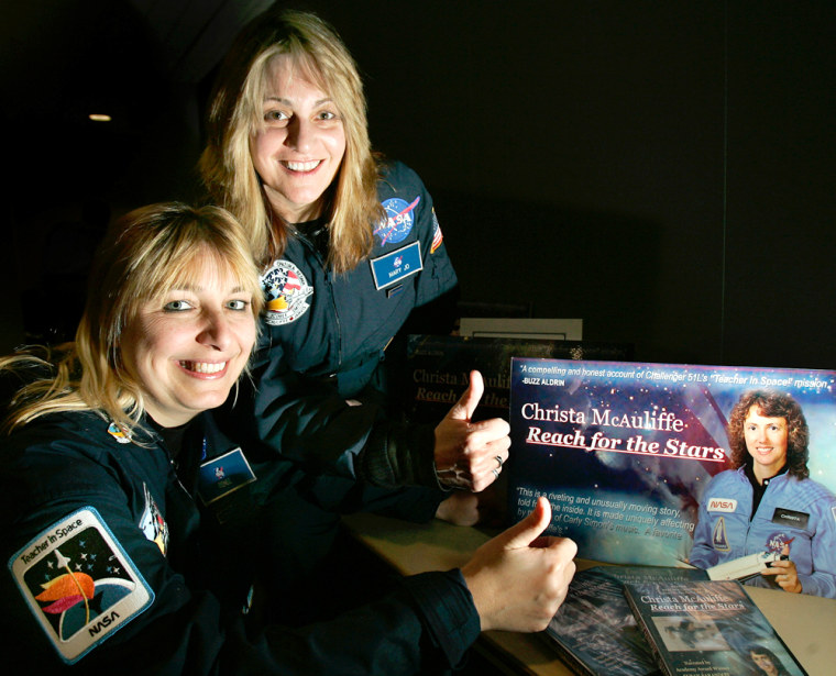 """""""This was a big story that needed to be told,"""" says filmmaker Mary Jo Godges,right, who withfellow filmmaker Renee Sotile posed prior toa showing of their documentary at Christa McAuliffe's alma mater on Tuesday."""