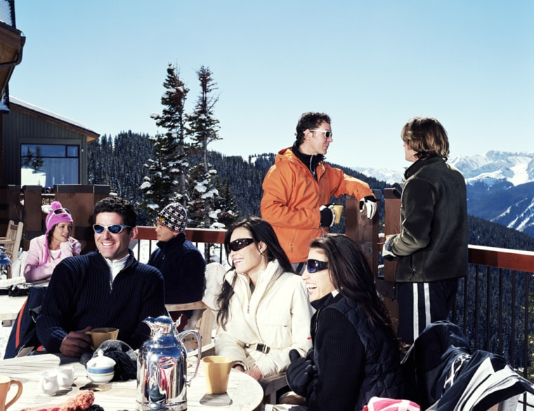 Enjoy an après-ski warm up after a day on the slopes with a spiked hot chocolate on a chalet sundeck.