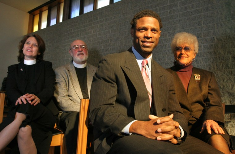 From left, Rev. Martha Clark, retired Rev. Bruce Eberhardt, convention delegate Julian Tait, and Janet Eberhardt, seen at St. Augustine's Episcopal Church, Washington, D.C., on Thursday, are in charge of a push to get the late Thurgood Marshall recognized as a saintly person.