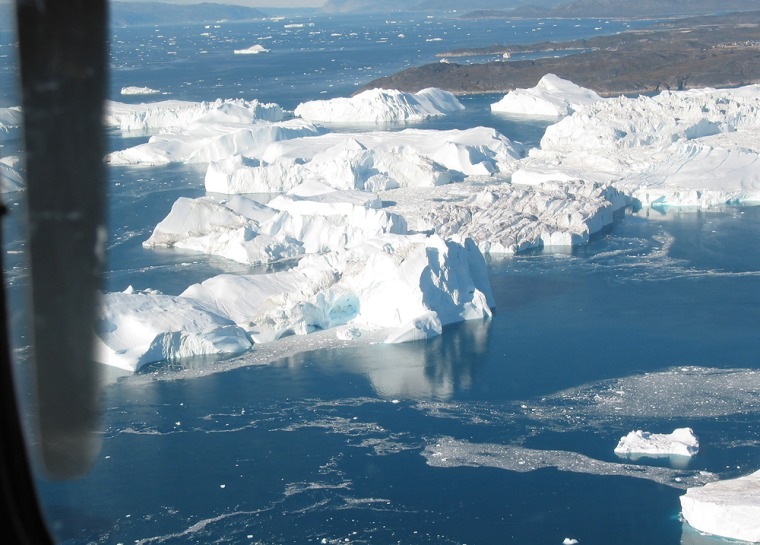 Recent photo shows icebergs floating in