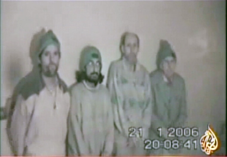 A new videotape broadcast Saturday showed four kidnapped peace activists.
