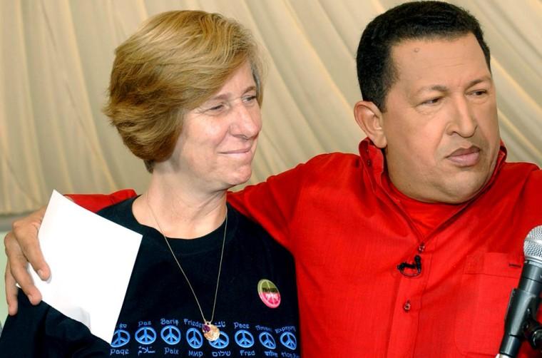 U.S. activist Cindy Sheehan meets Venezuelan President Chavez during his weekly broadcast  'Alo Presidente'