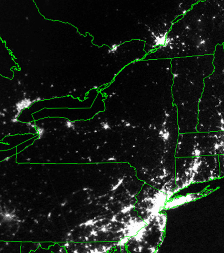 NASA imagery shows the distribution of city lights in the northeastern United States in 2003. The site for the Adirondack Public Observatory is in a particularly dark region of northern New York.
