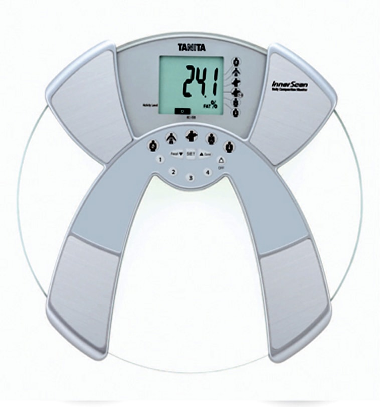 Tanita's BC-533 scale not only measures body fat and hydration levels, but analyzes muscle and bone mass and monitors daily caloric intake.