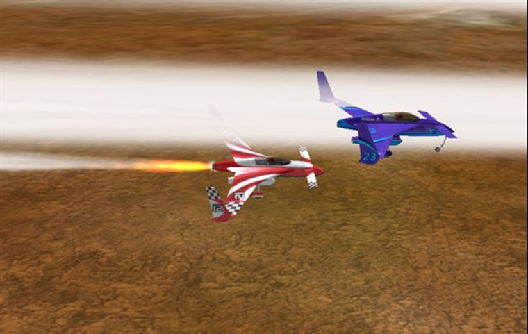 An artist's conception shows two rocket planes in a head-to-head race conducted by the Rocket Racing League.