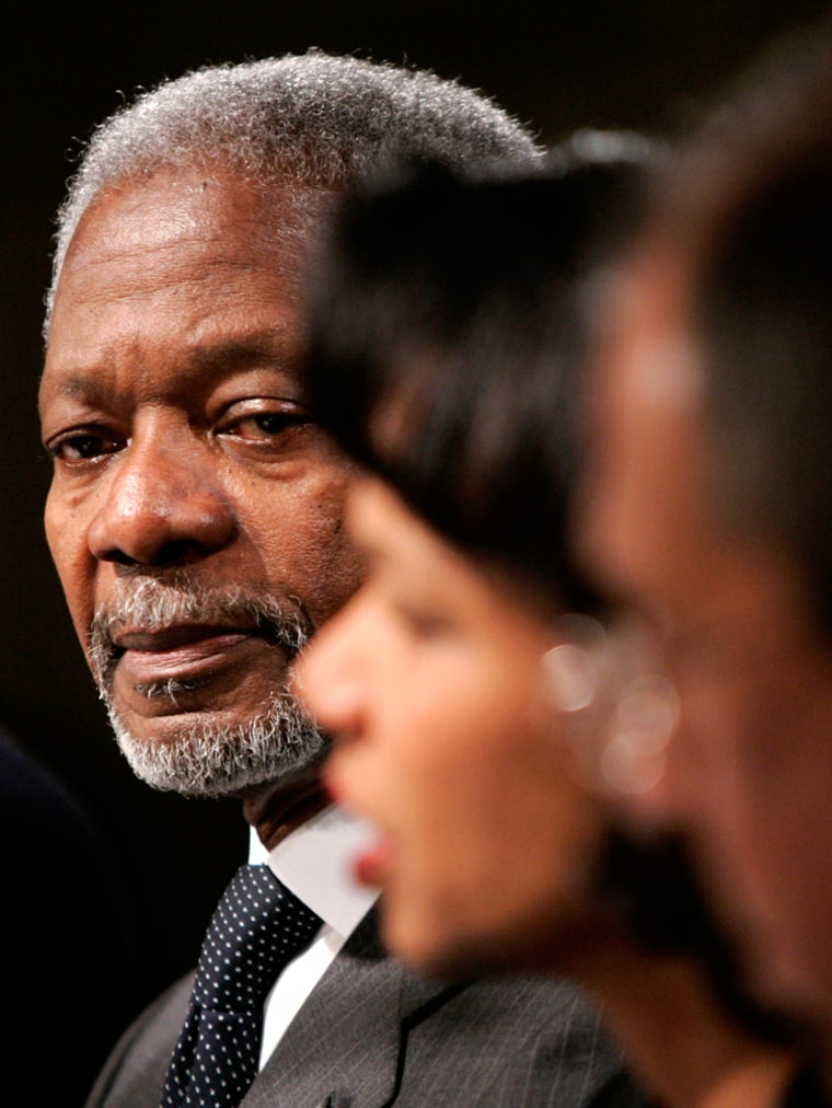 Secretary of State Condoleezza Rice speaks in London on Monday while U.N. Secretary-General Kofi Annan, left, listens. Hamas has said it will ask Arabs and Muslims for money if the U.S. and Europe cut back.