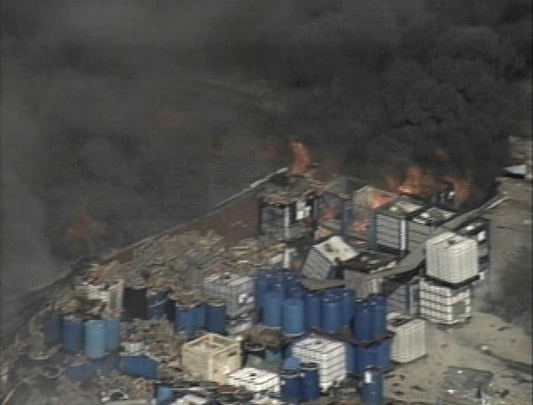 Aerial view of Synthron Inc. after an explosion at the chemical plant on Tuesday.